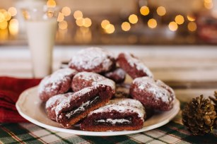 oreo stuffed christmas cookies vegan